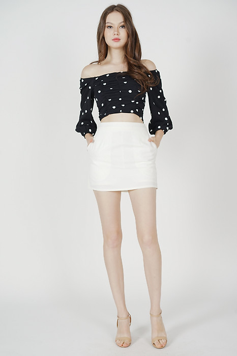 Zyra Ruched Top in Black Polka Dots - Arriving Soon