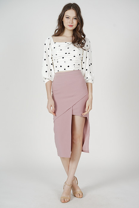 Zyra Ruched Top in White Polka Dots - Arriving Soon