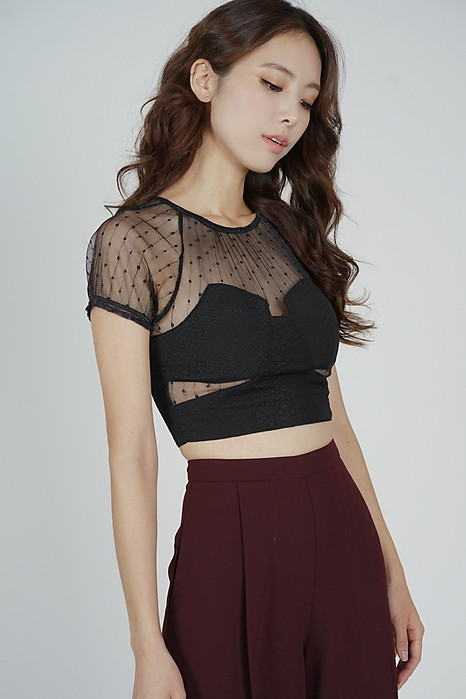 Posla Cutout Mesh Top in Black
