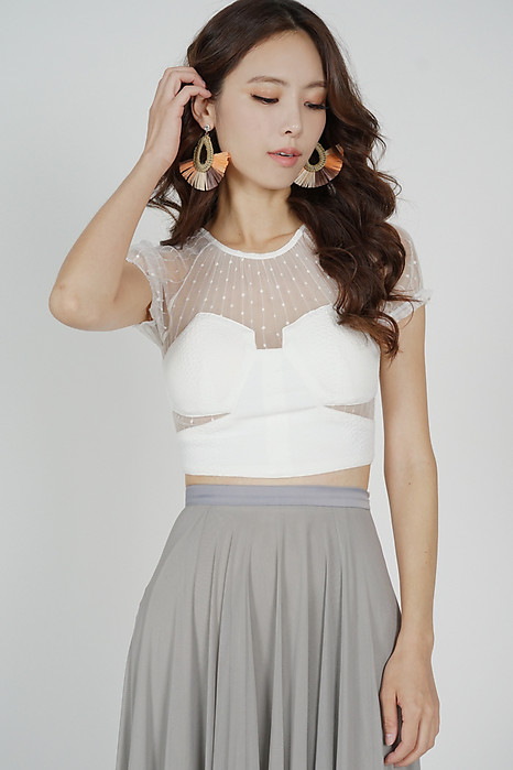Posla Cutout Mesh Top in White