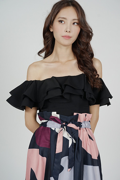 Yelda Flounce Top in Black - Arriving Soon
