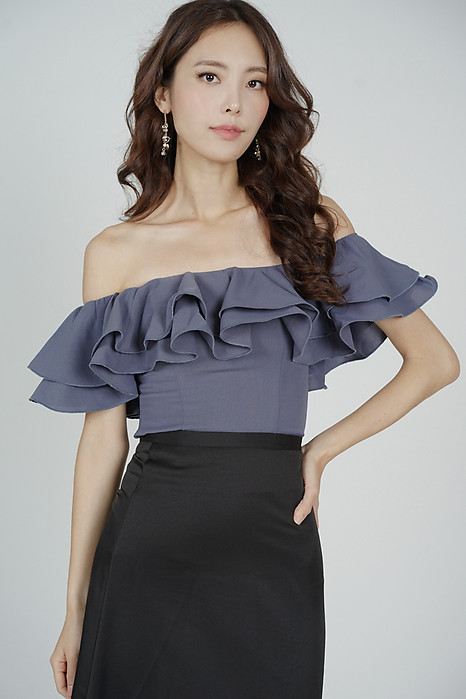 Yelda Flounce Top in Navy - Arriving Soon
