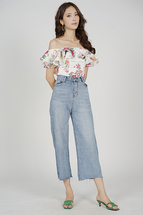 Yelda Flounce Top in White Floral - Arriving Soon