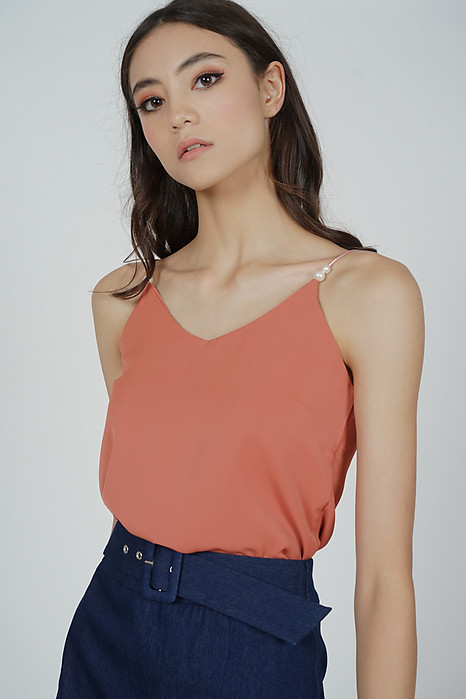 Roni Beaded Cami Top in Coral - Online Exclusive