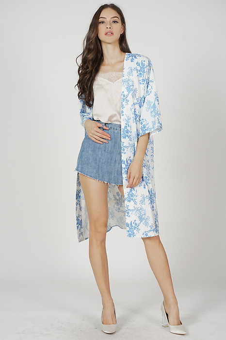 Nova Duster Kimono in White Blue Floral - Arriving Soon