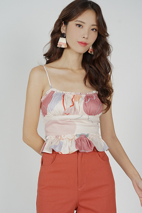 Kalbie Gathered Frill Top in Pink Abstract