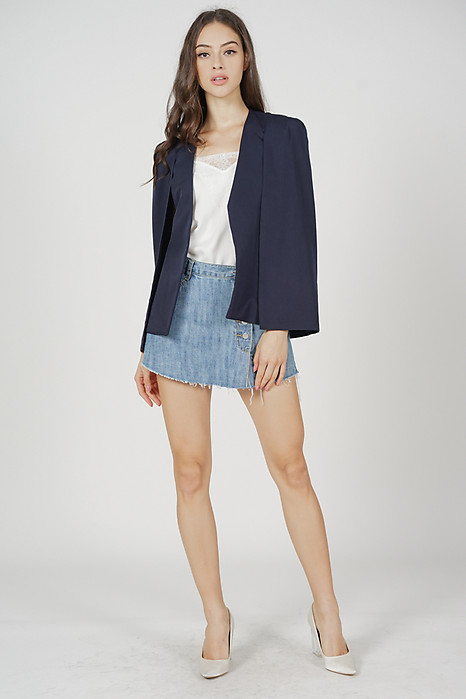 Pamela Cape Blazer in Midnight
