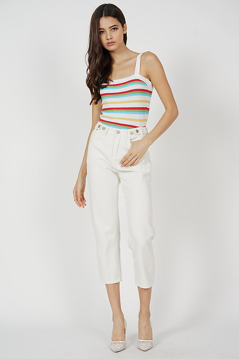 Deseia Cropped Top in White Stripes - Online Exclusive