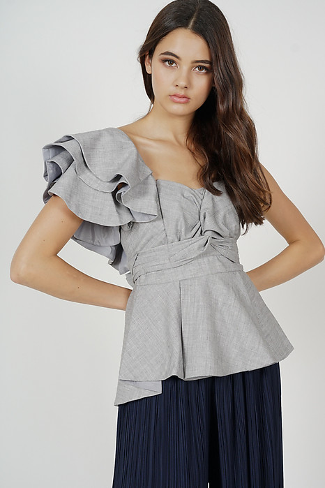 Stacie Peplum Toga Top in Grey