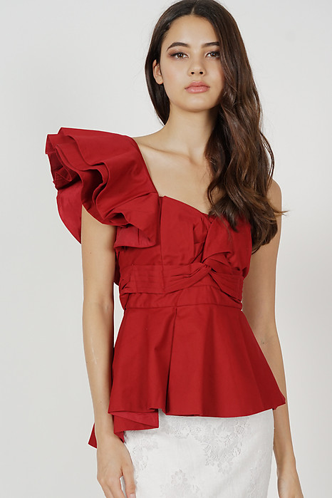 Stacie Peplum Toga Top in Red