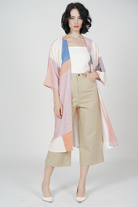 Zayel Duster Kimono in Pink Abstract