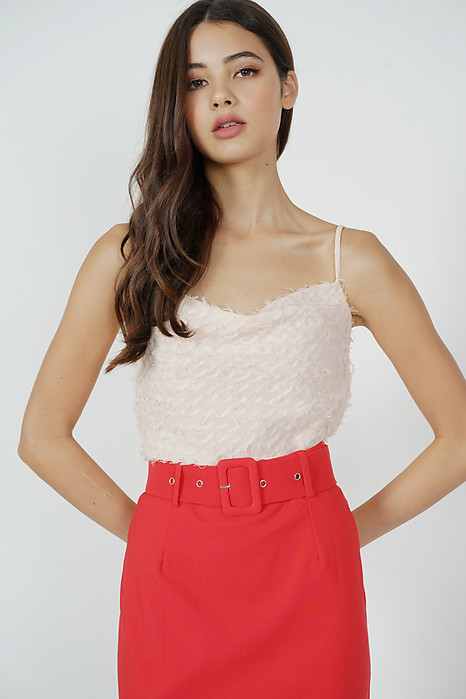 Teru Fringe Top in Pink