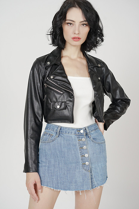 Aiber Leather Jacket in Black