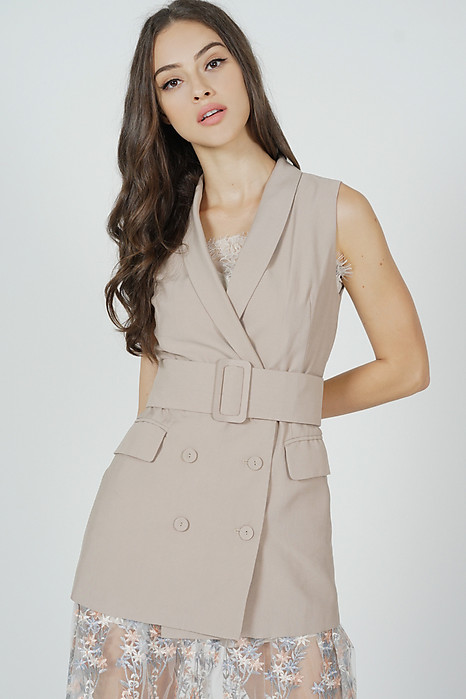 Alena Belted Vest in Khaki