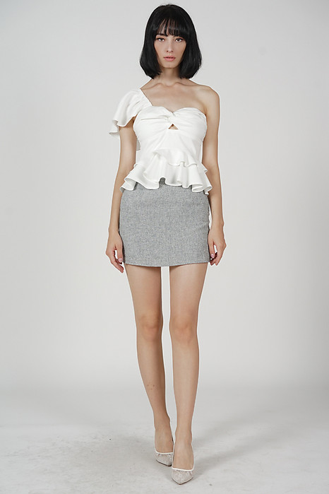Annette Ruffled Toga Top in White - Arriving Soon