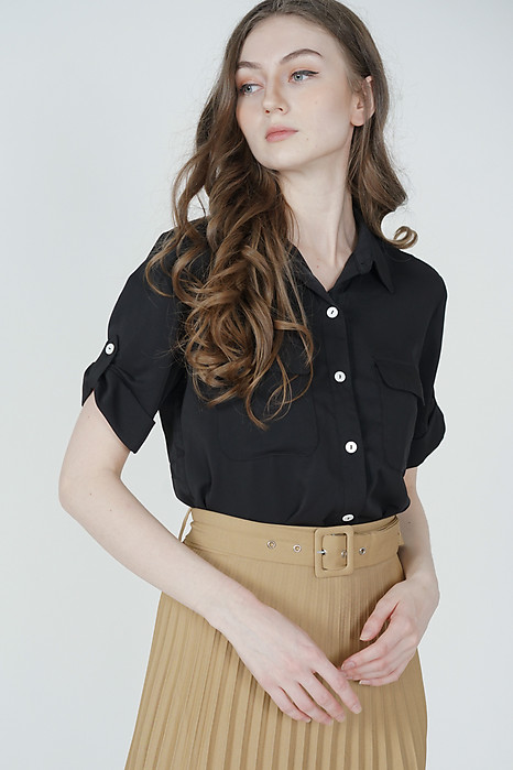 Charli Buttoned Top in Black - Arriving Soon