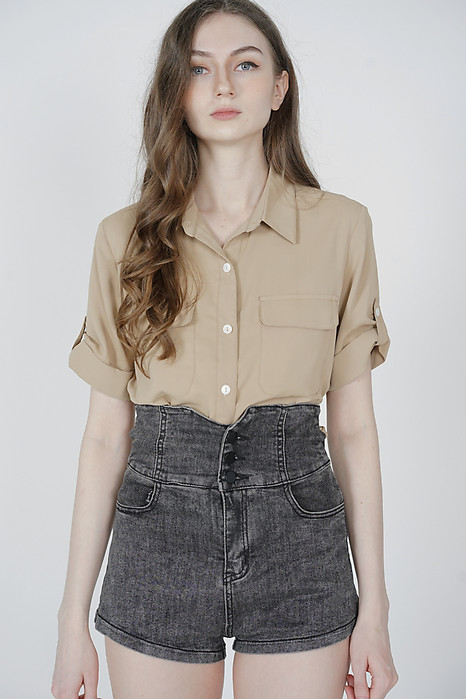 Charli Buttoned Top in Khaki - Arriving Soon