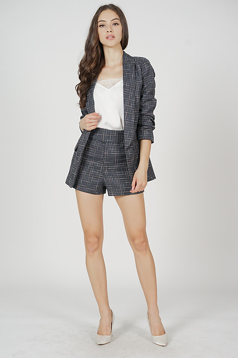 Ezra Gathered Sleeve Blazer in Navy