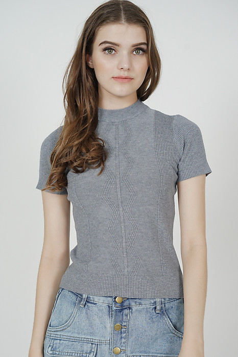 Gabbie Knit Top in Grey - Online Exclusive