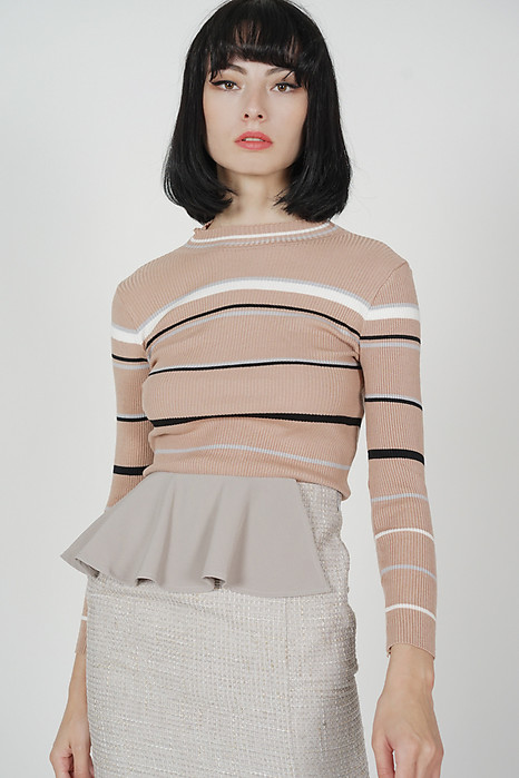 Sonria Striped Top in Beige - Online Exclusive