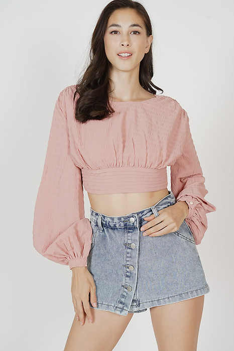 Yaletha Gathered Top in Pink