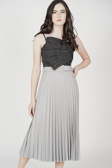 Wilbo Pleated Cami Top in Dark Grey - Arriving Soon