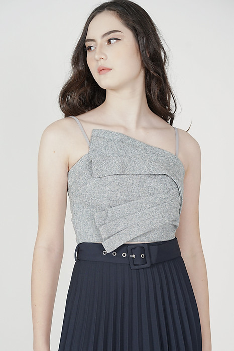 Wilbo Pleated Cami Top in Light Grey - Arriving Soon