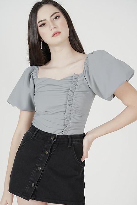 Liza Gathered Puffy Top in Ash Blue - Arriving Soon