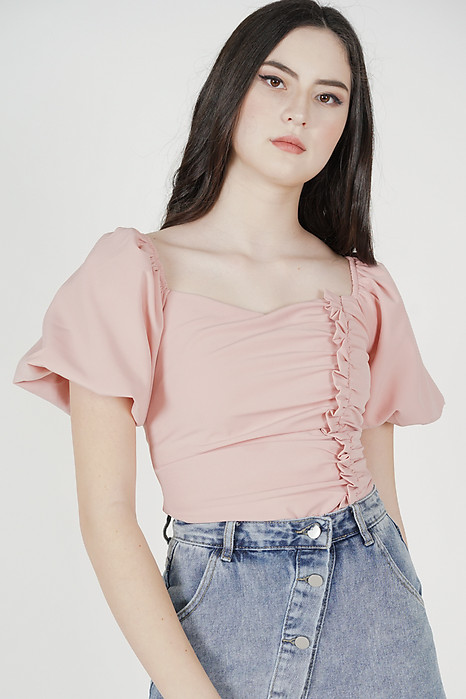 Liza Gathered Puffy Top in Pink - Arriving Soon