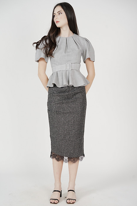 Denza Pleated Ruffled Top in Grey - Arriving Soon