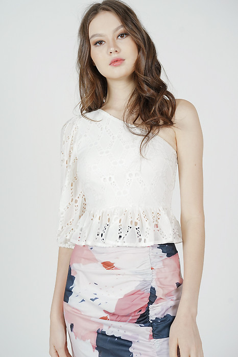 Ganza Toga Ruffled Top in White - Arriving Soon