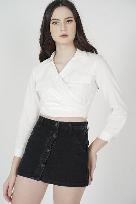Eryn Collared Top in White - Arriving Soon