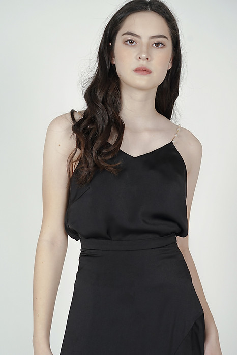 Viki Pearl Strap Top in Black - Arriving Soon
