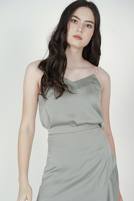 Viki Pearl Strap Top in Sage - Arriving Soon