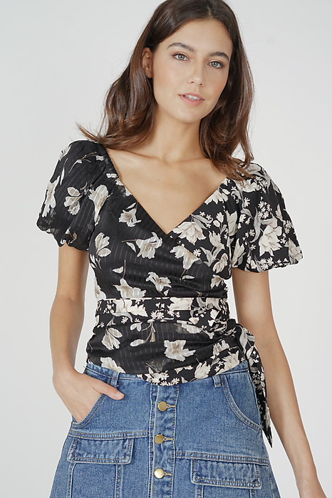 Ethelda Tie Top in Black Floral - Arriving Soon