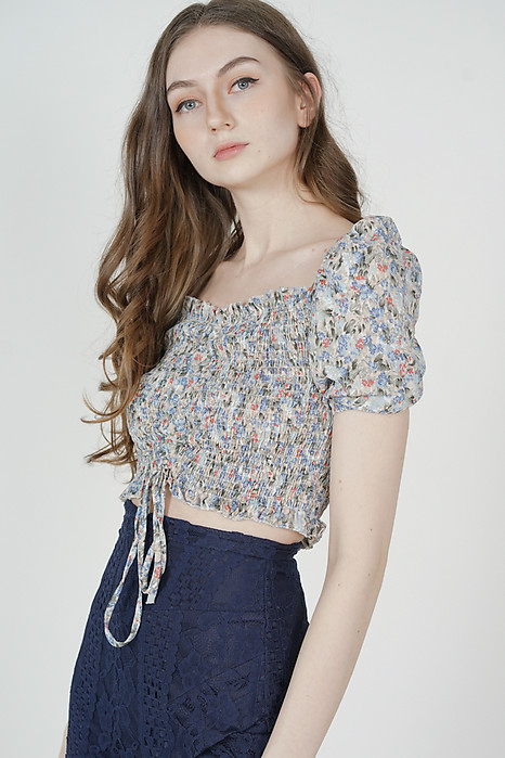 Leeja Gathered Top in Cream - Online Exclusive