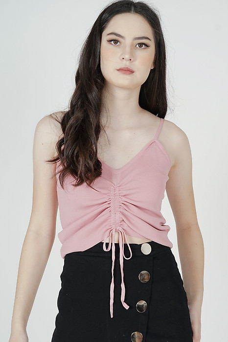 Deena Gathered Cami Top in Light Pink - Online Exclusive