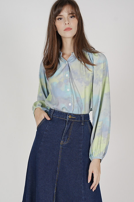 Reena Buttoned Top in Green Blue - Arriving Soon