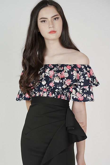 Aero Ruffled Top in Midnight Floral - Arriving Soon