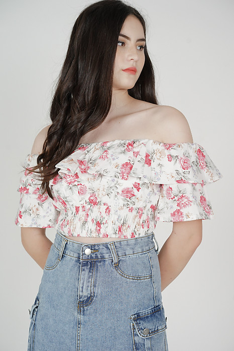Aero Ruffled Top in White Floral - Arriving Soon