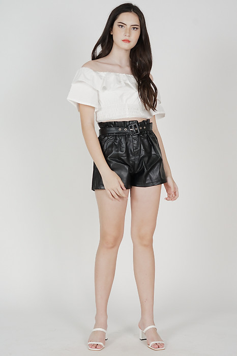 Aero Ruffled Top in White - Arriving Soon