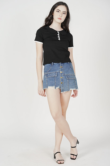 Fenni Collared Top in Black - Online Exclusive