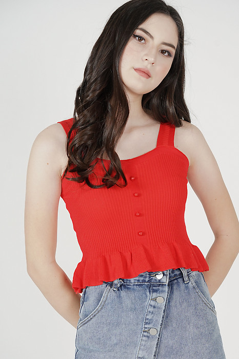 Violette Ruffled Top in Red - Online Exclusive
