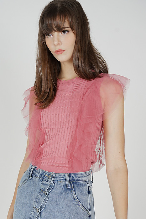 Edmund Ruffled Top in Pink - Online Exclusive