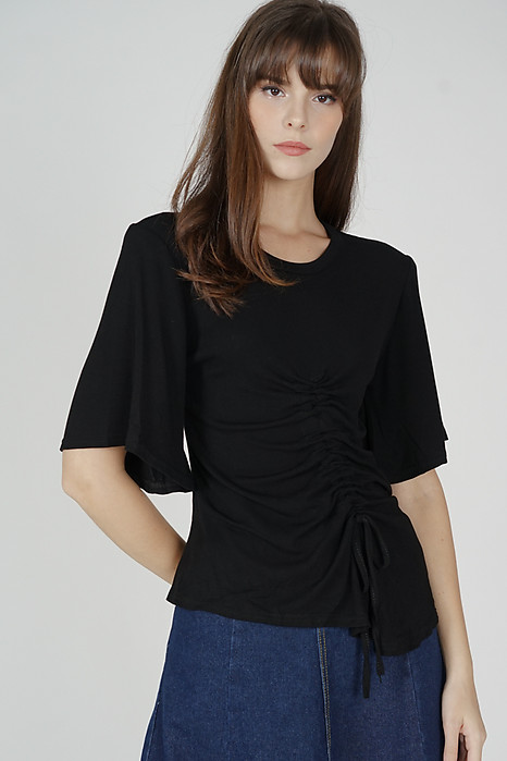 Arlen Gathered Tie Top in Black - Online Exclusive