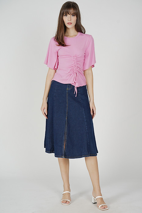 Arlen Gathered Tie Top in Pink - Online Exclusive