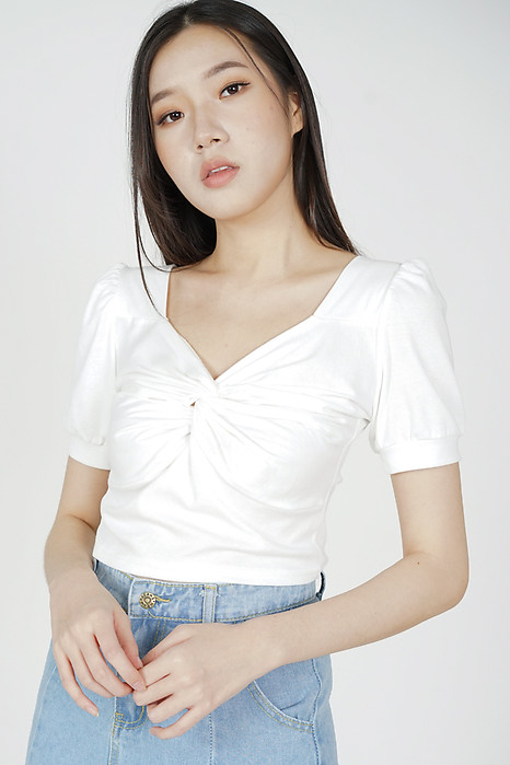 Mekka Gathered Top in White - Online Exclusive