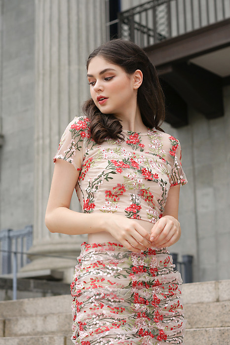Rewin Mesh Top in Red Floral