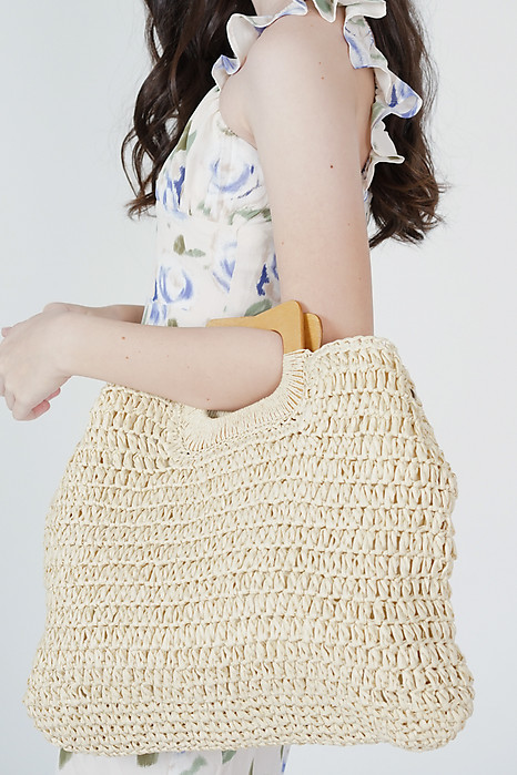 Calen Straw Tote Bag in Cream - Arriving Soon