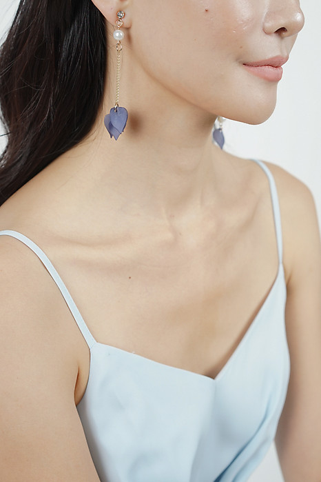 Blue Lily Asymmeterical Earrings  - Arriving Soon